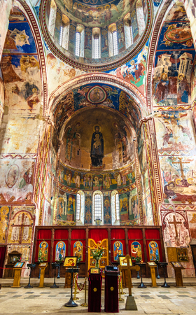 Gelati, Georgia - January 11, 2016: Interior of Gelati Monastery near Kutaisi.