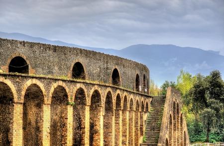 amphitheatre: View of the Pompeii Amphitheatre in Italy Stock Photo