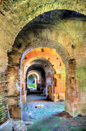 amphitheatre: Interiors of the Capua Amphitheatre - Santa Maria Capua Vetere, Italy Stock Photo