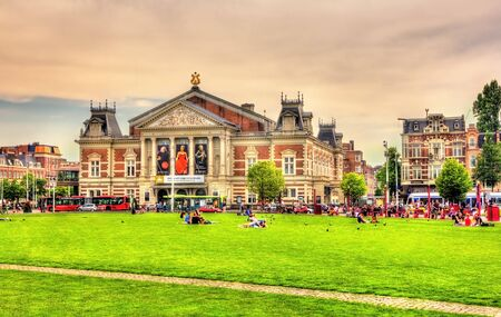 9 11: Amsterdam, Netherlands - June 9, 2014: View of the Royal Concertgebouw, a concert hall in Amsterdam. The hall opened on 11 April 1888.
