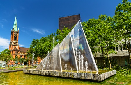 johannes: A fountain and the Johannes Church in Dusseldorf, Germany