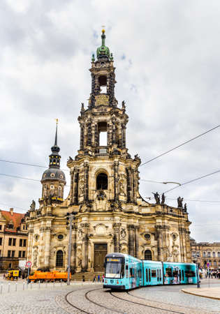 municipal editorial: Dresden, Germany - May 04, 2014: Cathedral of the Holy Trinity and a tram. Dresden is the capital of Saxony.