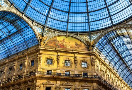 vittorio emanuele: Milan, Italy - May 8, 2014: Interiors of Galleria Vittorio Emanuele II. Built in 1875 this gallery is one of the most popular shopping areas in Milan.