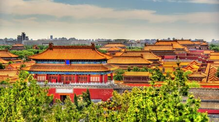 bejing: Aerial view on Forbidden City from Jingshan Park in Bejing, China Stock Photo
