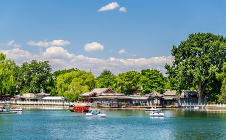 Qianhai lake in Shichahai area of Beijing - China Stock Photo