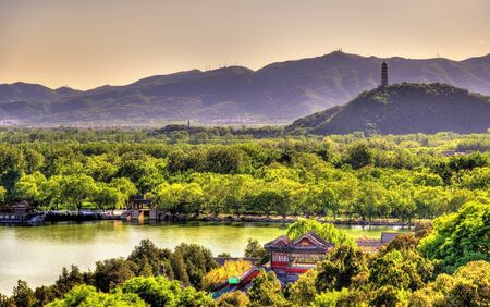 city park boat house: Kunming Lake seen from the Summer Palace - Beijing, China