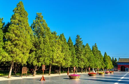Way to the Circular Mound Altar at the Temple of Heaven in Beijing. UNESCO World Heritage site in China