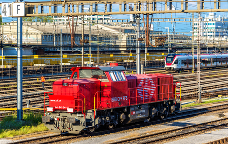 diesel locomotives: Basel, Switzerland - June 9, 2016: Class Am 843 diesel shunter at Basel SBB railway station. These locomotives were built by Vossloh in 2003-2009 Editorial