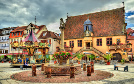 Place de lHotel de ville, the main square of Molsheim - Alsace, France