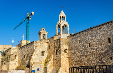 palestinian: Walls of the Church of the Nativity in Bethlehem, Palestine Stock Photo