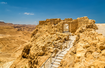 View on the ruins of the Masada fortress - the Judaean Desert, Israel Stock Photo