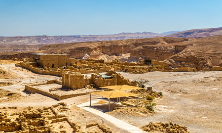 judaean desert: View on the ruins of the Masada fortress - the Judaean Desert, Israel Stock Photo