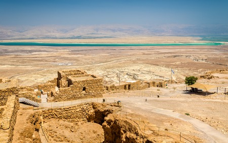 judean hills: View on the ruins of the Masada fortress - the Judaean Desert, Israel Stock Photo