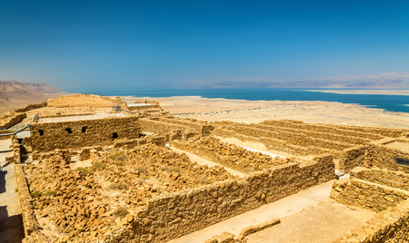judea: View on the ruins of the Masada fortress - the Judaean Desert, Israel Stock Photo