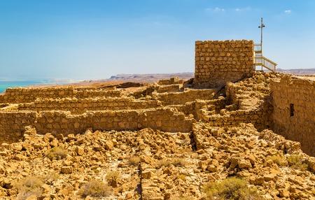 masada: View on the ruins of the Masada fortress - the Judaean Desert, Israel Stock Photo