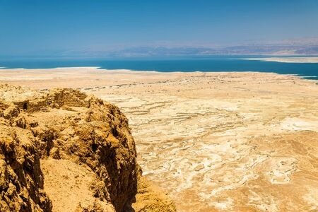 judean hills: Ruins of Masada fortress and Dead Sea - Israel Stock Photo