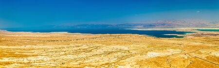 judaean desert: Aerial view of the Dead Sea in the Judaean Desert - Israel Stock Photo