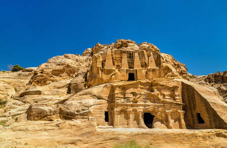 Obelisk Tomb and the Triclinium at Petra - Jordan Stock Photo