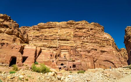 Aneisho Tomb at the ancient city of Petra. UNESCO Heritage Site in Jordan Stock Photo