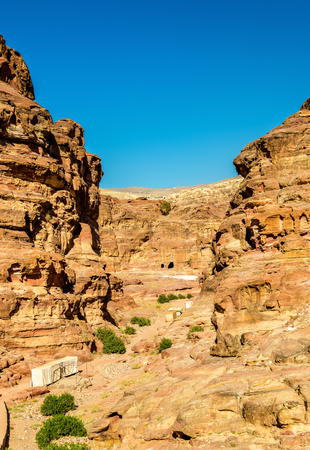 Wadi Jeihoon, the path to the Monastery El Deir at Petra - Jordan Stock Photo