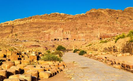 archeological: View of the Royal Tombs at Petra, UNESCO world heritage site in Jordan