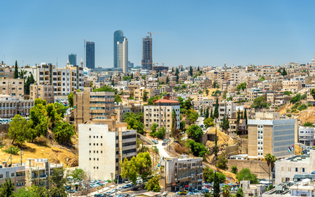Cityscape of Amman downtown with skyscrapers at background - Jordan Standard-Bild