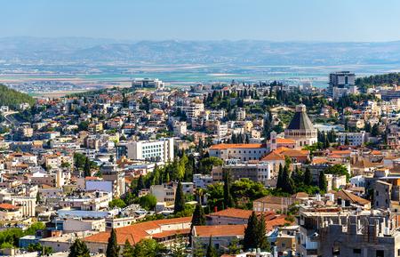 nazareth: Panorama of Nazareth with Basilica of Annunciation - Israel