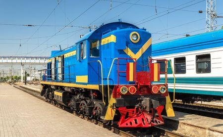 switcher: Soviet-made shunter diesel locomotive at Tashkent Station - Uzbekistan