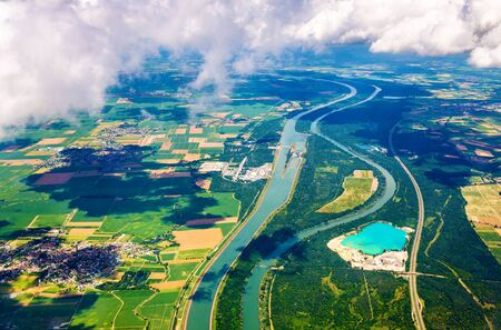 The Rhine and The Grand Canal of Alsace at Fessenheim as seen from an airplane - France Stock Photo