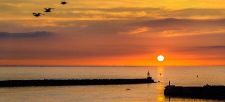 hirtshals: Sunset over the Harbour of Hirtshals - Denmark