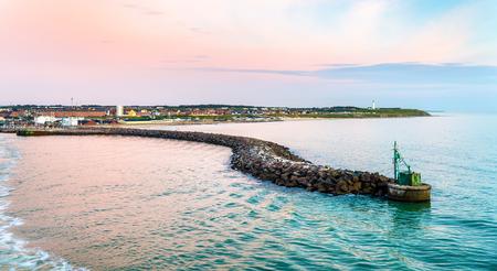 hirtshals: View of Port of Hirtshals at sunset - Denmark