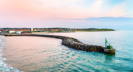 View of Port of Hirtshals at sunset - Denmark