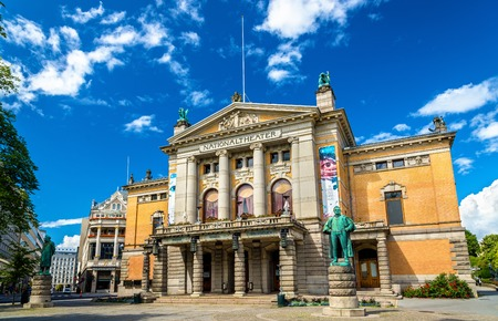 Oslo, Norway - July 7, 2016: View of the National Theatre. It is one of Norways largest and most prominent venues for performance of dramatic arts