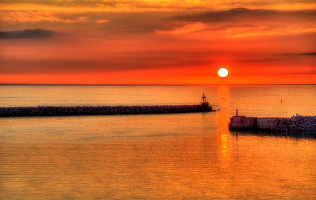 Sunset over the Harbour of Hirtshals - Denmark