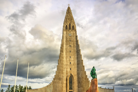 Hallgrimskirkja Cathedral, a Lutheran parish church in Reykjavik, Iceland Stock Photo