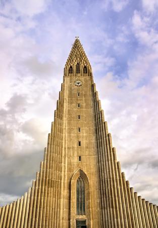 erikson: Hallgrimskirkja Cathedral, a Lutheran parish church in Reykjavik, Iceland Stock Photo