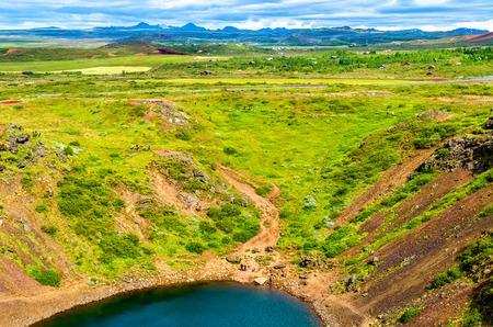 crater lake: Kerid, volcanic crater lake in Grimsnes , Iceland Stock Photo
