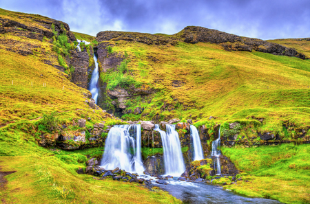 View of Gluggafoss or Merkjarfoss, a waterfall in southern Iceland Stock Photo
