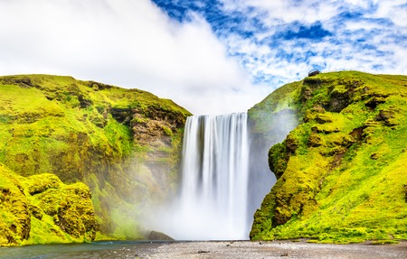 View of Skogafoss waterfall on the Skoga River - South Iceland Stock Photo