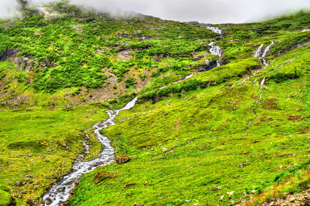 Landscape of the Geiranger valley near Dalsnibba mountain - Norway Stock Photo