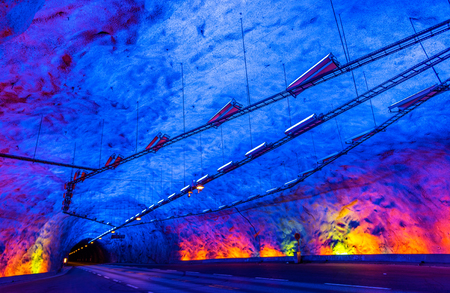 long way: Laerdal Tunnel, the longest road tunnel in the world - Norway Stock Photo