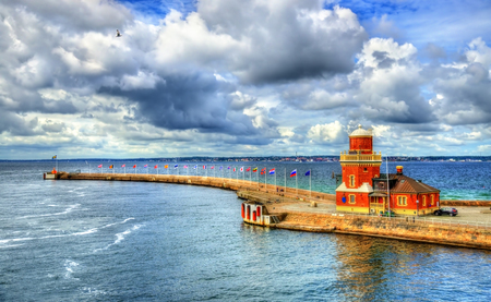 Lighthouse at the port of Helsingborg in Sweden.