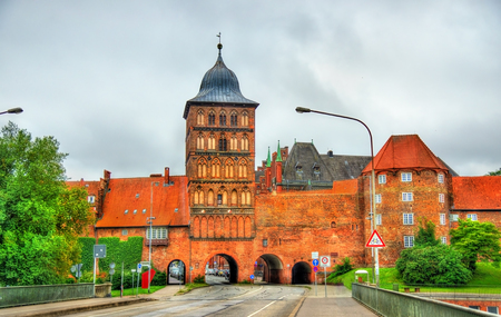 north window arch: The Burgtor, the northern gate of the old town of Lubeck - Schleswig-Holstein, Germany Stock Photo