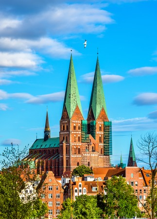 View of St. Marys Church in Lubeck -  heritage site in Germany
