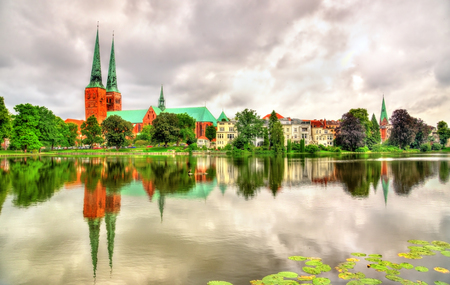 lutheran: View of the Cathedral of Lubeck in Germany, Schleswig-Holstein Stock Photo