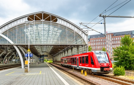 Lubeck, Germany - July 19, 2016: Regional train at Lubeck Main Station Editorial