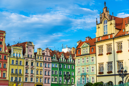 Colorful Houses on the Market square in Wroclaw - Poland