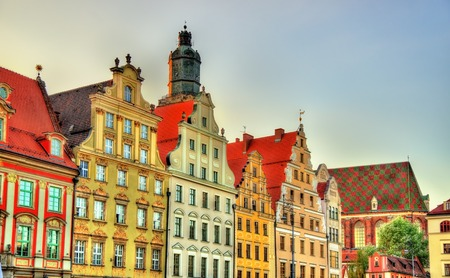 polen: Colorful Houses on the Market square in Wroclaw - Poland