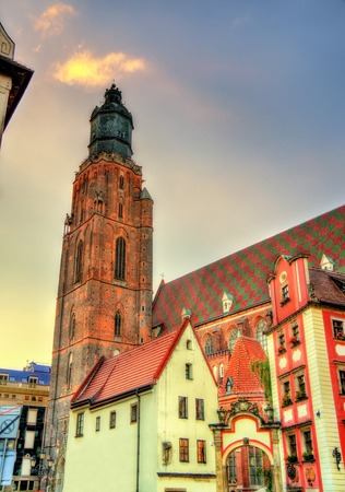 View of St. Elizabeth Church in Wroclaw - Poland Stock Photo