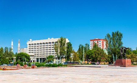 View of Victory Square in Bishkek, the capital of Kyrgyzstan Stock Photo